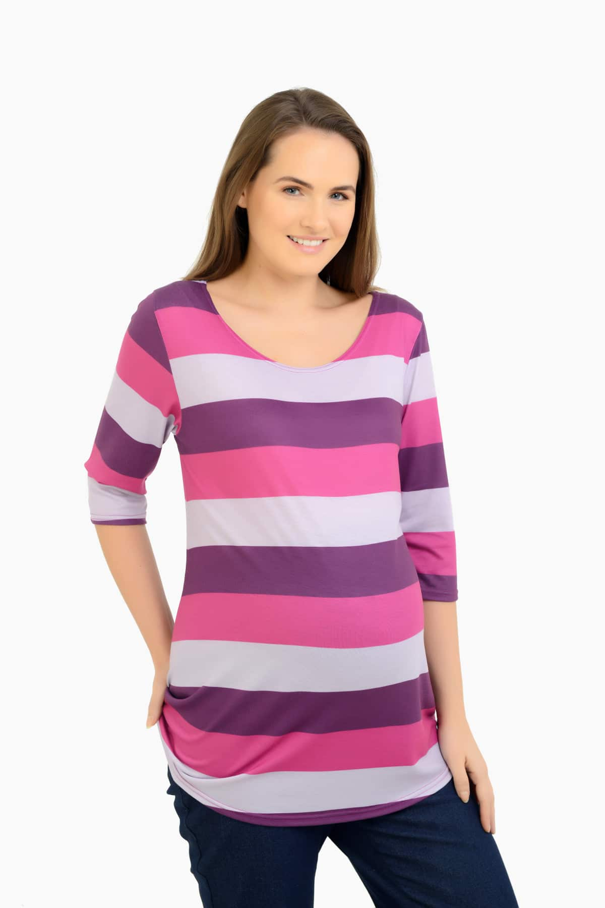 Classic stripes and a soft material are perfect to bring you both comfort and style this season. Not to mention, the suede accent elbow patch on the sleeves makes this top stand out and keep your wardrobe up-to-date. Pair this maternity top with your favorite jeans and boots for .
