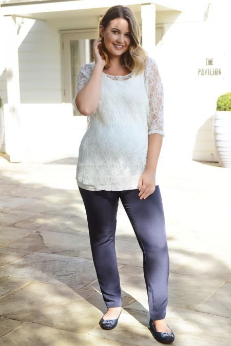 Skinny Leg Navy Maternity Trousers