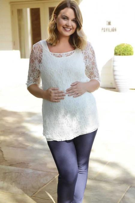 Ivory Lace Maternity Top and Vest