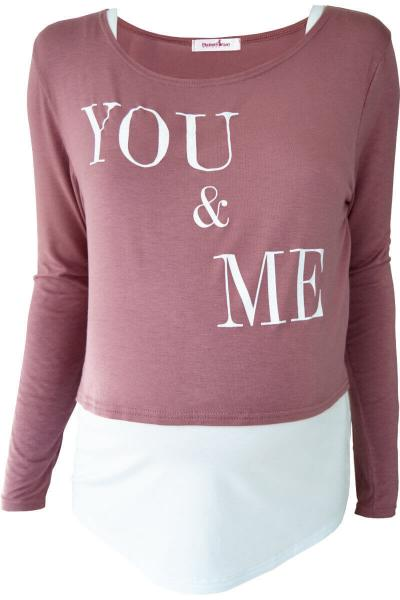 """You & Me"" Maternity & Nursing Top Set - Dusky Pink"
