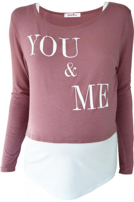 """You & Me"" Maternity & Nursing Top Set - Dusky Pink"