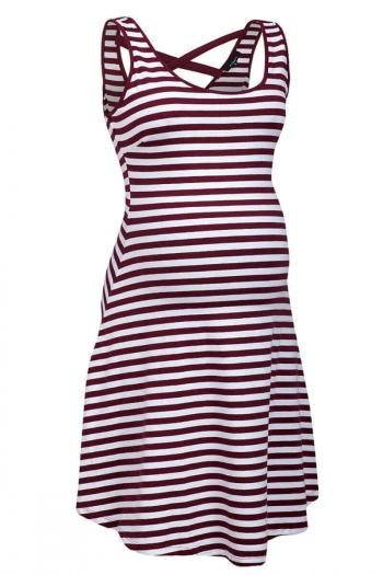 Red White Stripped Maternity Dress