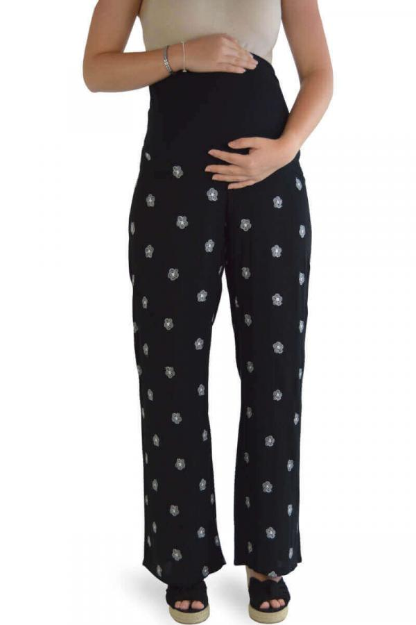 Black Foral Maternity Summer Trousers