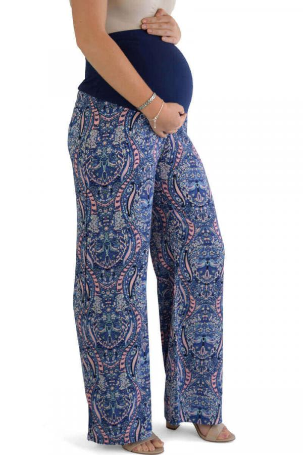 Summer Maternity Trousers Blue Print 1