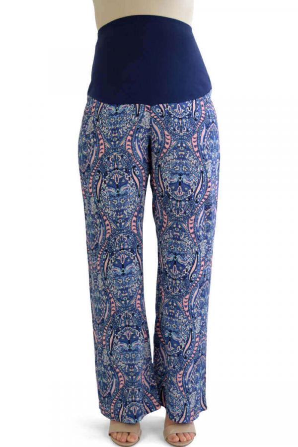 Summer Maternity Trousers Blue Print 2