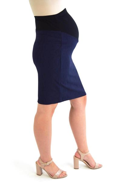 Navy Blue Textured Maternity Pencil Skirt