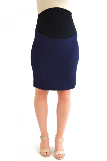 Navy Blue Textured Maternity Pencil Skirt