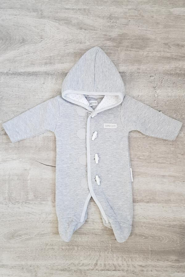 Grey Quilted Baby Pramsuit