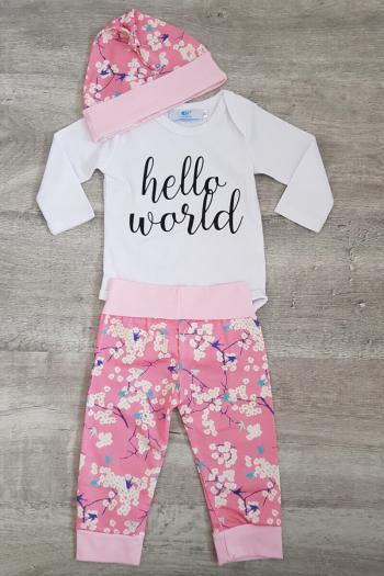 Baby Hello World Girl 3 Piece Set