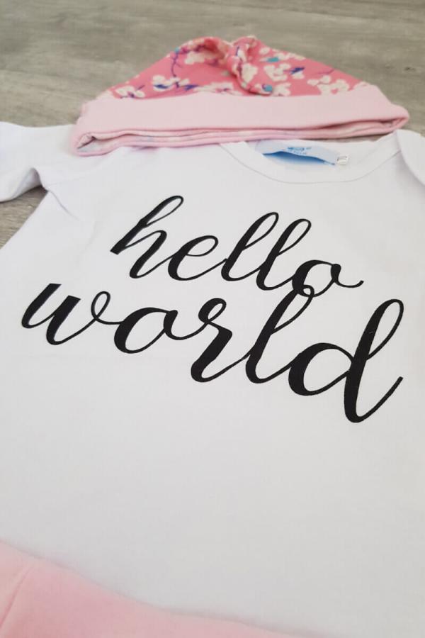 Baby Hello World Girl 3 Piece Set