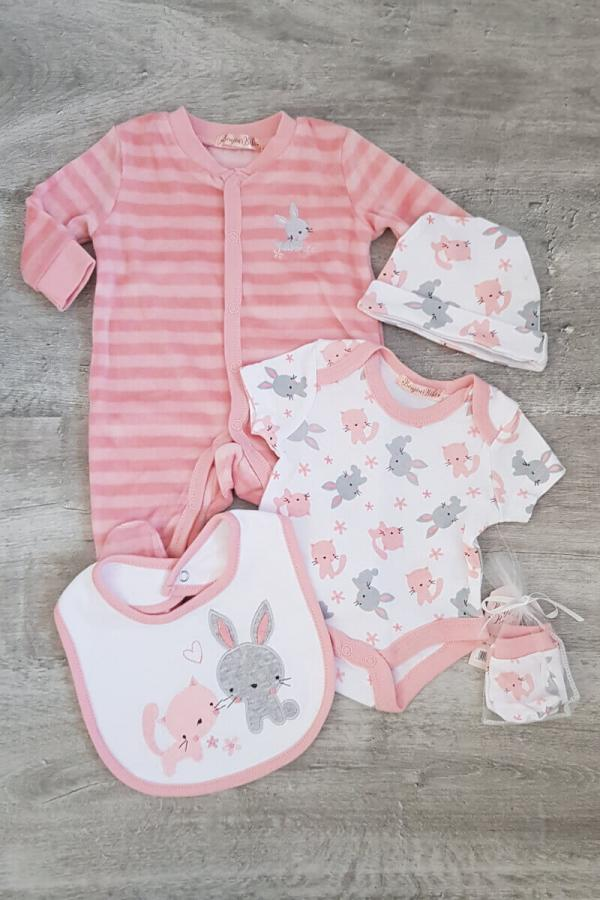 Kitten and Bunny 5 Piece Baby Set