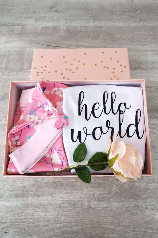 Pink 'Hello World' Baby Hamper Gift Box