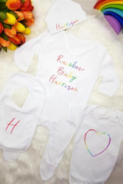 Personalised Rainbow Baby Clothing Gift Set