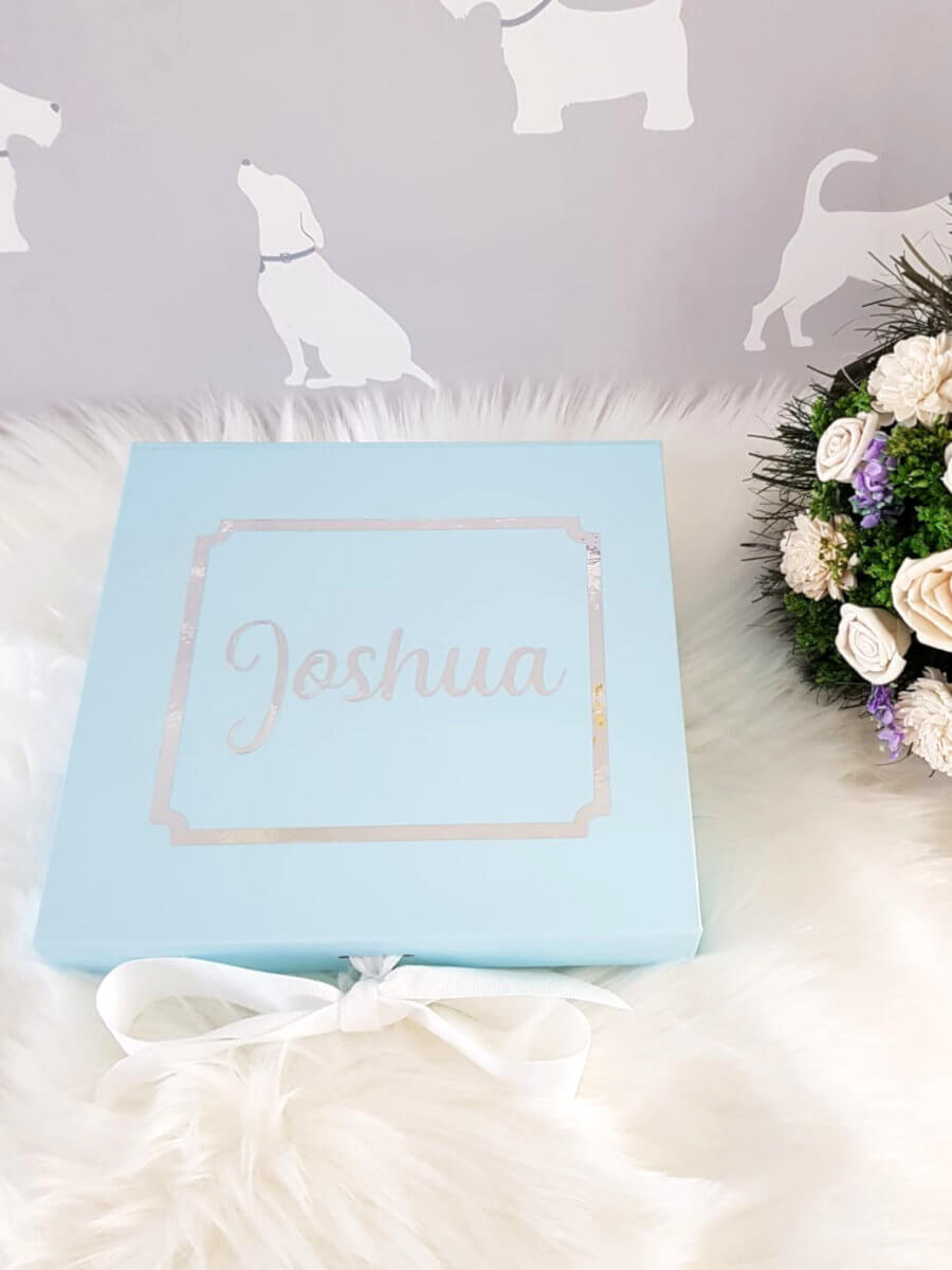 Personalised Blue Gift Box with the name Joshua written on it