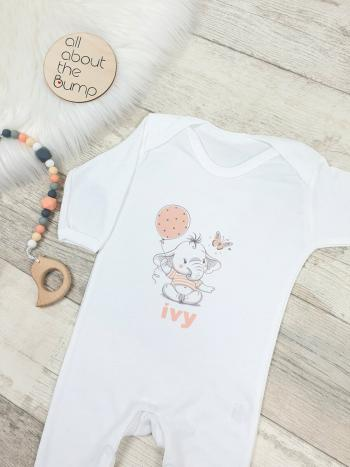 Baby Elephant Peach with Balloon Personalised Babygrow