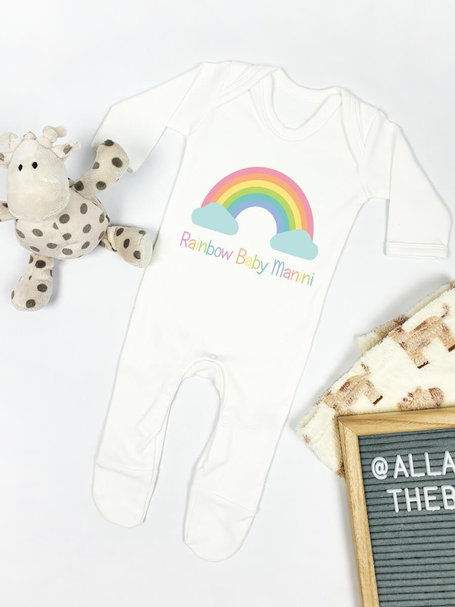 Pastel Rainbow Baby Personalised Babygrow