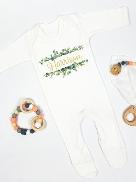Split Monogram Green Wreath with Gold Print Personalised Babygrow