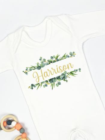 Split Monogram Green Wreath with Gold Print Personalised Babygrow