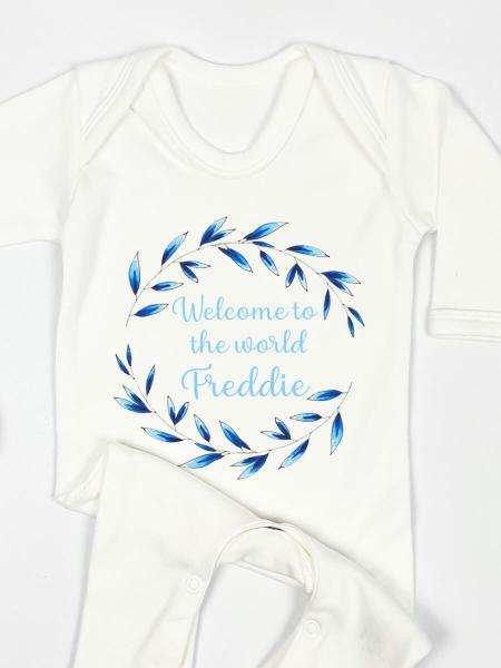 Welcome to the World - Blue Personalised Babygrow