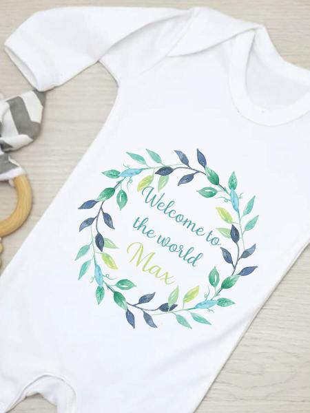 Welcome to the World - Green and Blue Personalised Babygrow