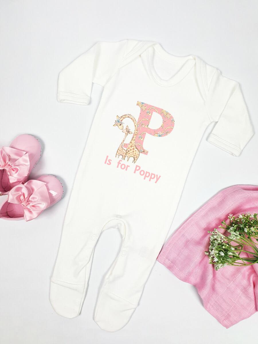 Giraffe Initial Pink Personalised Babygrow