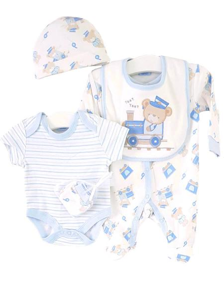 Bear in a Train Baby Clothing 5 Piece Set