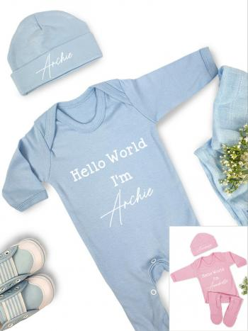 Hello World Babygrow Hat Set