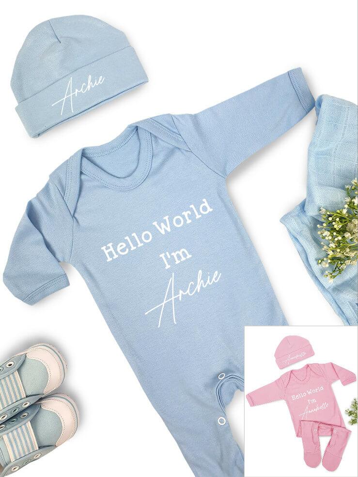 Hello World Babygrow Hat Set