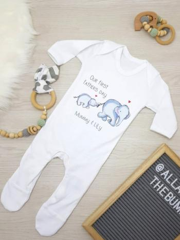 First fathers day elephant babygrow