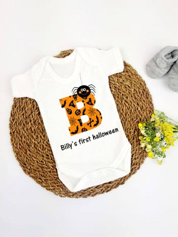 Orange Initial Spider Personalised 1st Halloween - vest