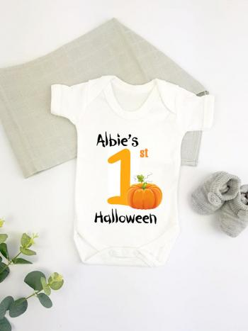 Orange Pumpkin Personalised 1st Halloween - vest