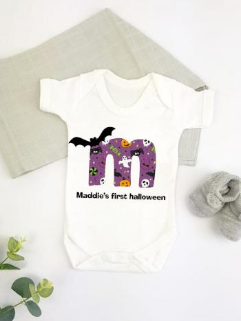 Purple Initial Bats and Ghoolies Personalised 1st Halloween - vest