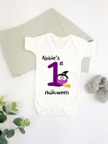 Purple Owl Personalised 1st Halloween - vest