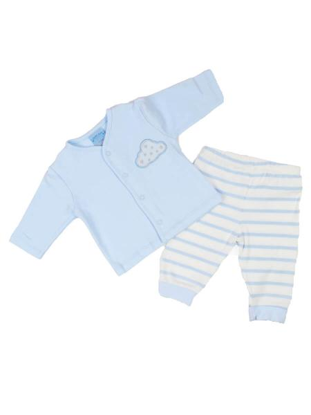 Blue baby top and leggings set with cloud design