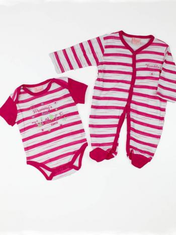Pink / White Striped Baby Grow and Vest set with text Twinkle Toes