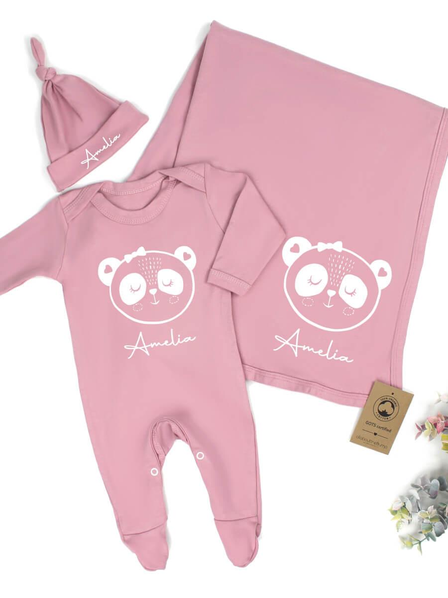 Organic Cotton Pink - Pesonalised Panda