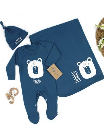Baby Bear Organic Babygrow Hat Blanket