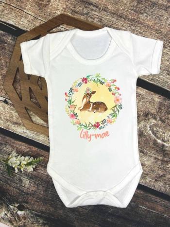 Deer Yellow Floral Wreath Bodysuit Baby Vest