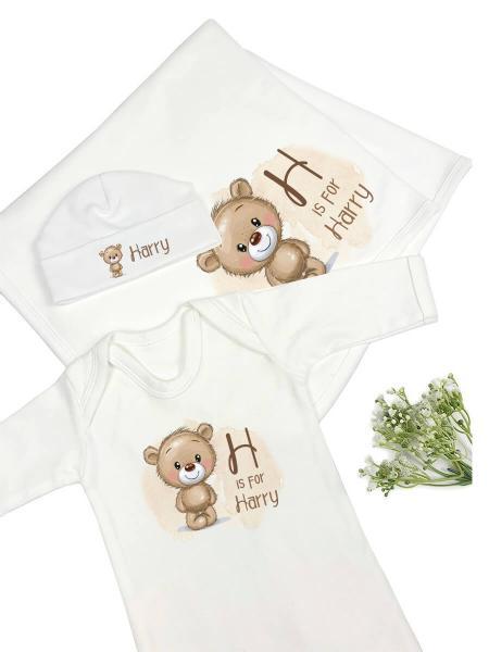 Little Brown Bear Personalised Babygrow Hat Blanket Gift Set