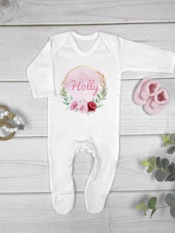 Pink Roses Wreath Personalised Babygrow Hat Blanket Box