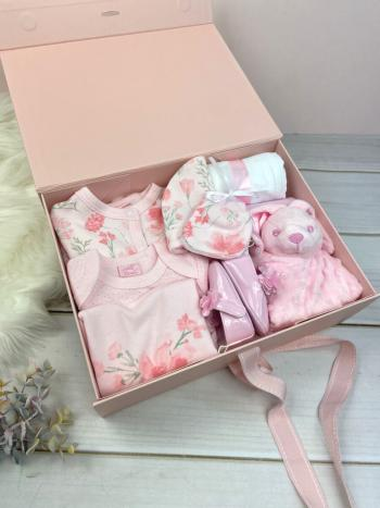 Pink Hamper with floral baby clothes, muslin, booties, blanket and comforter