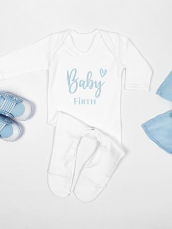 Baby Announcement - Blue Name and Heart ANCBLUENAME