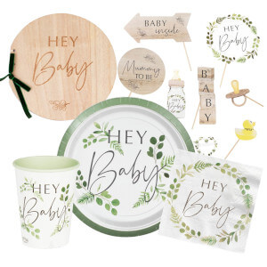 """Botanical Baby Shower party supplies and decorations which say """"hey baby"""" on them"""