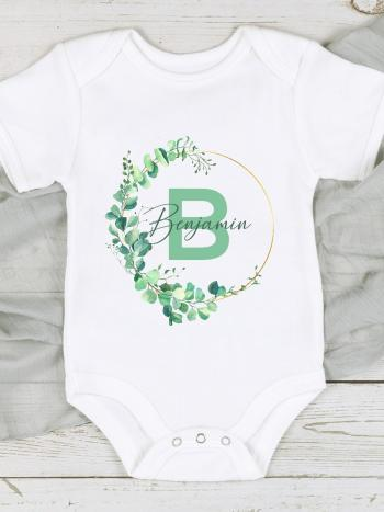 Green Leaf and Gold Wreath - Letter and Name GRNGLDLEAFINITIAL