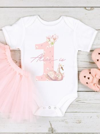 Pink Swan 1st Birthday Number Baby Vest Outfit