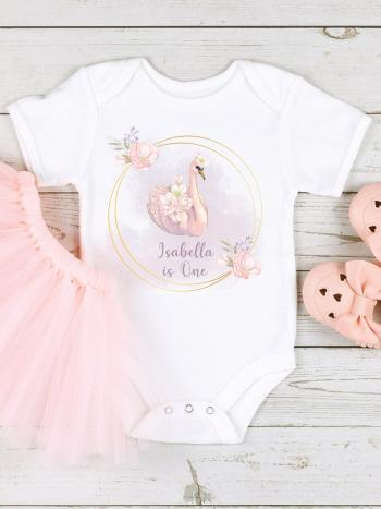 Pink Swan 1st Birthday Gold Ring Baby Vest Outfit