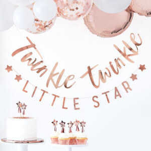 Baby shower banner with the words twinkle twinkle little star in rose gold colour writing