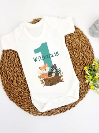 Woodland Animals 1st Birthday Number Vest Outfit