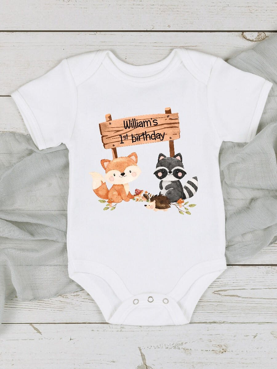 Woodland Animals Sign 1st Birthday Vest Outfit
