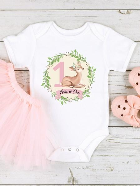 Deer 1st Birthday Wreath Baby Girl's Birthday Vest Outfit